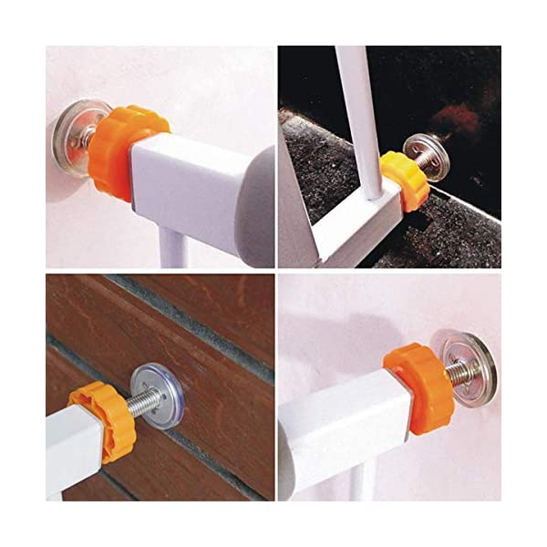 ZUZER 8pcs Pressure Baby Gates Threaded Spindle Rods M10 Walk Thru Gates Accessory Screw Bolts Safety Gate Screws for Baby and Pet Safety Gates Zuzer [High Quality] Our threaded spindle rods with steel core screw and ABS plastic, durable and reusable.Solid material that won't crack with pressure, help to make the banister gate fit snug and sturdy, so as to ensure safety of the kids or pets. [Safety and Stability] This pressure screw makes your baby door more stable and will not malfunction. A good way to protect walls or stair rails, the rubber ends protect your stairs from scratches. Can be used as an alternate wall handle for our door. (Do not use it at the top of the stairs.) [Easy to Install] It can be installed without tools. It does not damage the wall, it can be assembled quickly and easily by simply rotating the nut and creating a force that acts directly on the wall. 5