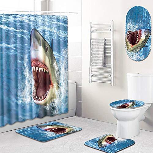 PPWYY Tier Muster Dusche Vorhang-Set,Polyester Stoff-Badvorhang Toilette Abdeckmatte Zum Bad Mit Rutschfester Bodenmatte 5 Teile/Satz,C,50 * 80CM