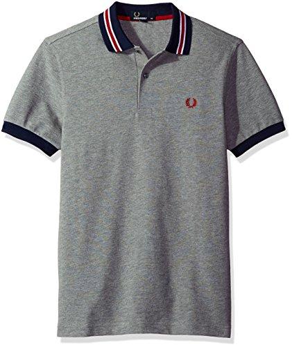 Fred Perry Herren Poloshirt Fp Stripe Grigio (Steel Marl)
