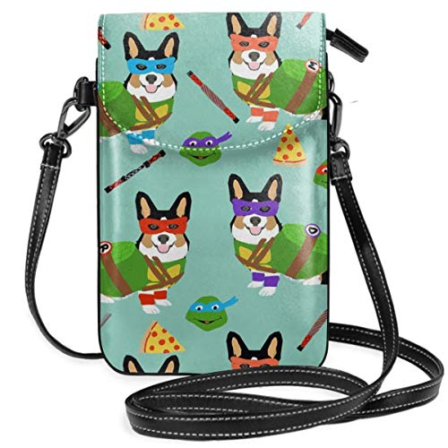 Tri Corgi Ninja Turtle Dog Dogs Cartoon Costume Ha Small Cell Phone Purse Crossbody Cellphone Shoulder Bag Smartphone Wallet Purse With Removable Strap