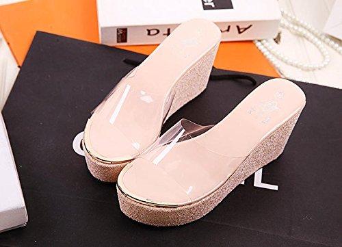 LvYuan Frauen Sommer Hausschuhe / Komfort Lässige Mode / Wedge Ferse / Dick Boden / wasserdichte Plattform / High Heel / Sandalen Pink