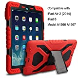 Meiya iPad Air 2 Coque,New Robuste Rsistant aux Chocs salet Neige Sable Proof Survivor Extreme Heavy Duty Etui iPad Air 2 Enfant Cadeau Pochette pour iPad Air 2 iPad 6(Rouge+noir)