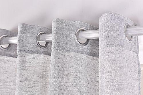 Pimpam Tex Rideau translucide à 8 œillets 140 x 260 cm Idéal pour le salon et la chambre Modèle Brigitte 140_x_260_cm Perle
