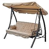SIBrand Hollywoodschaukel 3-Sitzer Beige mit Bett mit Verstellbarer Rückenlehne und Dach eg56680