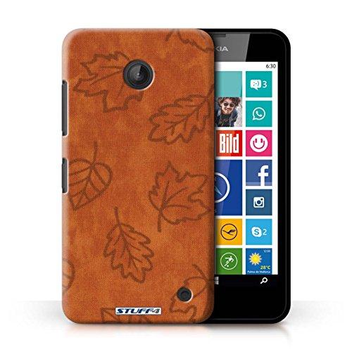 Kobalt® Imprimé Etui / Coque pour Nokia Lumia 635 / Rouge conception / Série Motif Feuille/Effet Textile Orange