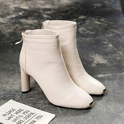 DAMENGXIANG L'Automne Et l'hiver Bottes Martin Femelle British Style Fashion Talons Bottes Grossiers Nue Star Même Style High Heeled Shoes 36 Le Riz Blanc