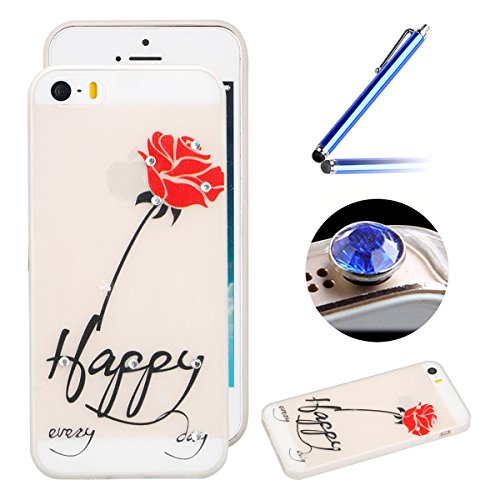 Etsue iPhone SE/5S/5 TPU Coque,Luminous Light Flexible Laser Reflect Blue Light Doux Housse pour iPhone SE/5S/5,Premium Slim TPU Gel Soft Back Cover Protecteur Coque Étui pour iPhone SE/5S/5,Rhineston Happy Rose Rouge