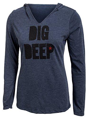 Jumpbox Fitness Dig Deep-Navy Blau-Frauen Lange Ärmel Triblend Hoody Workout Shirt, Marineblau, Large - Langen Ärmeln Navy Blau Shirt