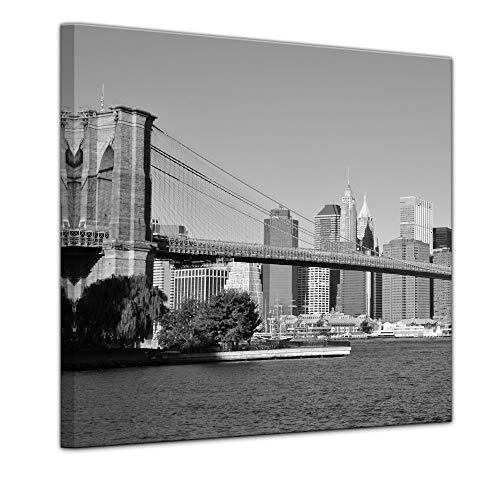Keilrahmenbild - New York Bridge - USA - Bild auf Leinwand - 80 x 80 cm - Leinwandbilder - Bilder als Leinwanddruck - Städte & Kulturen - Amerika - USA - Brücke in schwarz weiß -