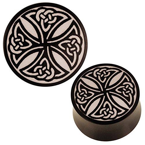Chic-Net Plug Schwarz Horn Gravur schwarz Knotenmuster Keltisch Tribal Expander 18 mm