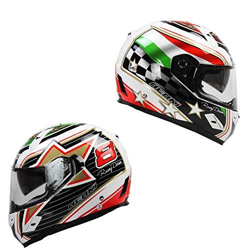 Oztklife Nenki Completo Casco Moto Casco Racing con Materiale FRP È più Sicuro per Soddisfare Gli Stati Uniti DOT Standard,M