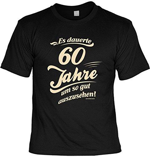 (T-Shirt zum Geburtstag - Es dauerte 60 Jahre um so gut auszusehen! - Im Set mit gratis Mini Shirt - Geschenk - 60. Geburtstag- schwarz)