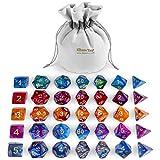 iBaseToy D&D Würfel Set, Zweifarbige Polyederwürfel mit Beutel, 5x7 Würfel Set für Dungeons & Dragons Spiel DND RPG MTG D4 D8 D10 D12 D20 Brettspiel Spielzeug Geschenk