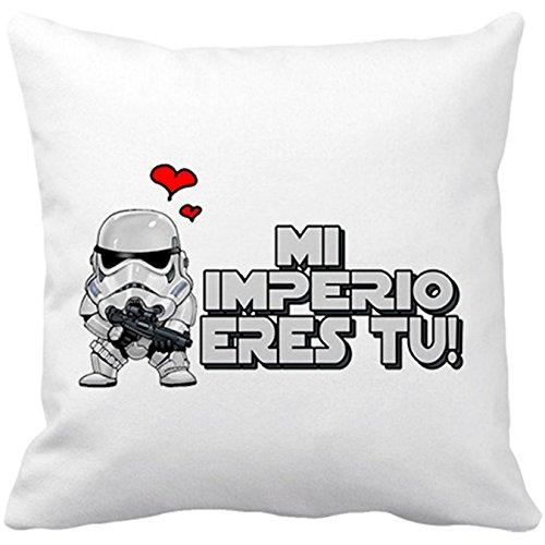 Cojín con relleno Star Wars mi imperio eres tu regalo amor friki - Blanco, 35 x 35 cm
