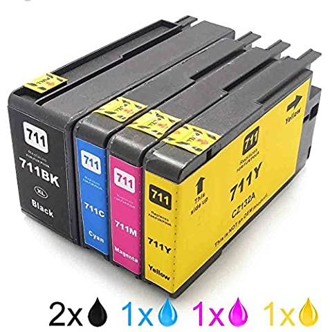 Generisches Kompatible Tintenpatrone als Ersatz für HP 711BK 711C 711M 711Y ( 2x Schwarz, 1x Cyan, 1x Magenta, 1x Gelb, (24 Kompatible Tintenpatrone Schwarz)