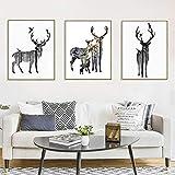 Nordic Ideas Set de 3 Affiches Cerf Tableau Decoration Murale Salon Impressions sur Toile Poster Noir et Blanc sans Cadre PTPC001-S