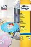 Avery Zweckform C6074-20 CD-Etiketten (A4, 40 Etiketten, hochglänzend, Ø 117 mm) 20 Blatt weiß