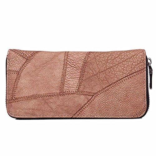 Koly_Le donne Zipper borsa della moneta di lungo raccoglitore dell'unità di elaborazione Card Holders borsa (rosso) Brown