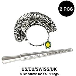 MeoWoo- Medidor de anillo dedo indicador joyería Kit Medidor para Reino Unido Anillos Dedo Mandril Calibrador Kit