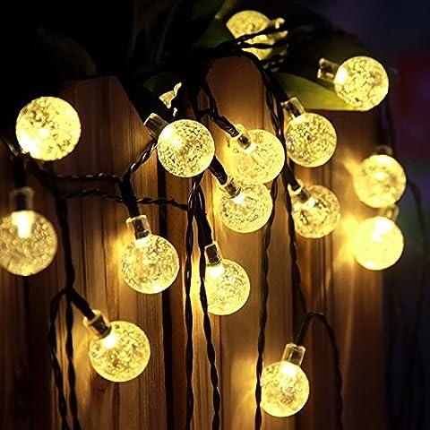 Led Guirlande lumineuse 60Boule de cristal, Satu Marron 11m 11m Festive terrasse solaire Globe lumières éclairage d'extérieur pour décorations de Saint-Valentin fête de Noël, jardin, camping, cour du pont