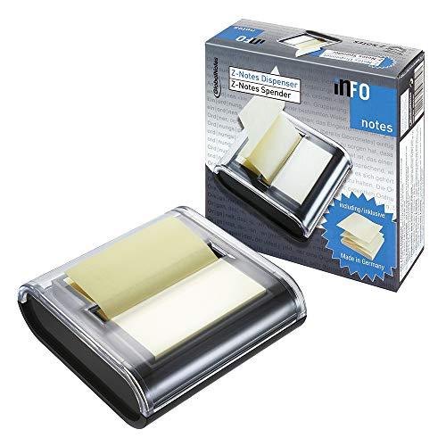 Global Notes 5643-01 - Dispensador de notas adhesivas (50 hojas amarillas, apiladas en zigzag, 75 x 75 mm), color negro