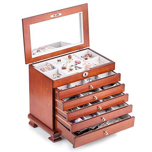 ROWLING Schmuckkasten Holz Schmuckkoffer schmuckschrank mit 5 Schubladen Schmuckkästchen Schatulle MG0160 (braun) -