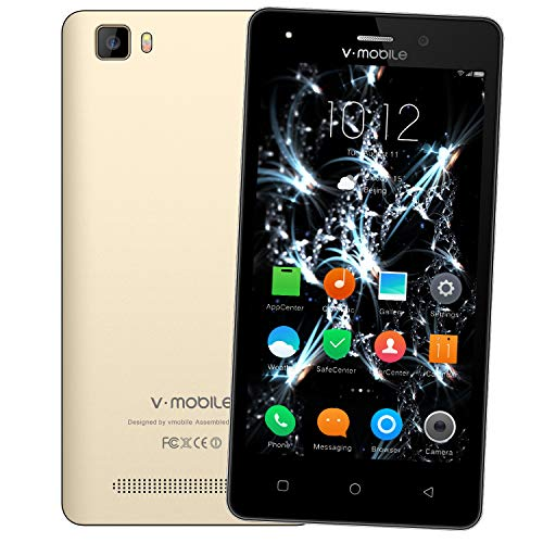 Telefonos Moviles 4g,8Pcs V Mobile A10 5.0 Pulgadas 8GB ROM 5MP Cámara Doble Sim  2800mAh Batería Android 7,0 Smartphone Telefono Movil Libres Baratos 1.3GHz Quad Core (Oro)
