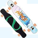 NENGGE Principianti Skateboards Completo, Double Kick Trick Skateboard Longboard per Bambini Adolescenti e Adulti Ragazzo e Ragazza,Surf