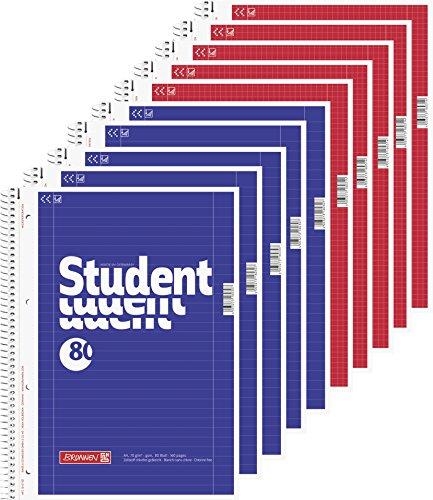 5 Brunnen Collegeblöcke Student A4 Lineatur 27, liniert 80 Blatt + 5 Brunnen Collegeblöcke Student A4 Lineatur 28 kariert , 80 Blatt weiß
