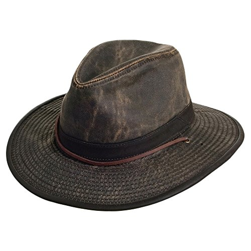 Village Hats Chapeau Australien en Coton Effet Usé marron DORFMAN PACIFIC