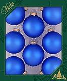Blaue Kugeln, matt uni, mit Goldkrönchen 7cm