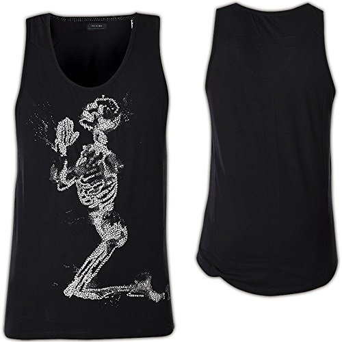 RELIGION® Herren Tank Top Shirt SKELETON HAND STITCH NEUE KOLLEKTION Schwarz