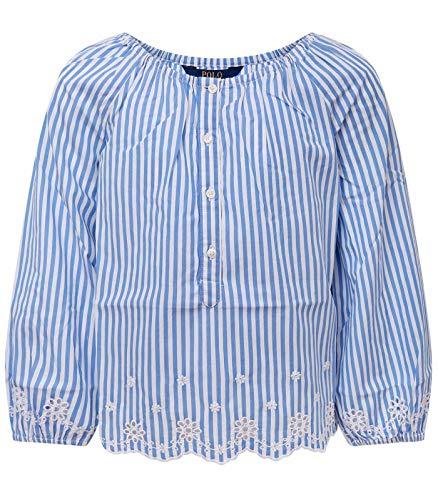 Ralph lauren kids camicia celeste e bianca a righe bambina - 6 a/y, celeste