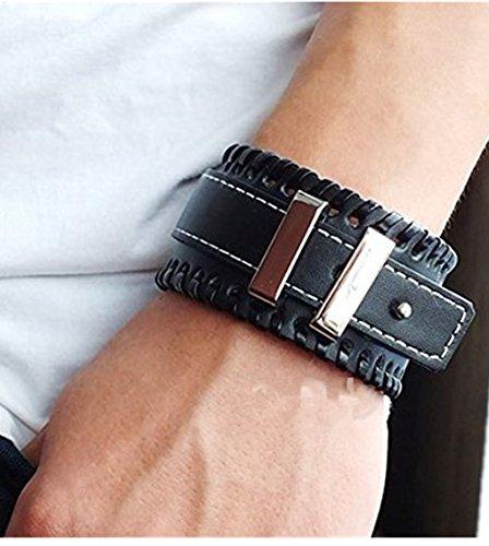 Jirong Mens polsino del braccialetto di modo in vera pelle nera gioielli braccialetto del braccialetto SL2614