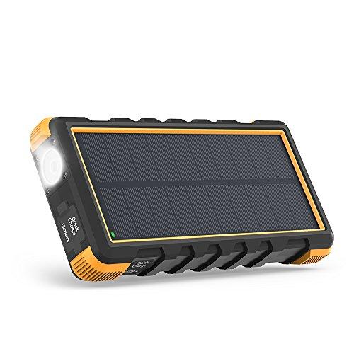 Solarladegerät RAVPower Quick Charge 25000mAh Powerbank Externer Akku mit Micro-USB und Typ-C-Anschlüssen 3 Ausgängen mit Taschenlampe Staubstoß- & Wassergeschützt, Gelb