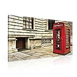 Tapeto Leinwandbild Vintage rote Telefonbox in England - XXL - 100 x 75 cm - Komplettpaket! - fertig gerahmt und inklusive Aufhängung - hochwertige 230g/m² Leinwand auf Keilrahmen - kinderleichte Anbringung