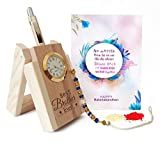 #2: Tied Ribbons Wooden Penstand With Pen And Rakhi With Roli Chawal Pack For Men /Boys