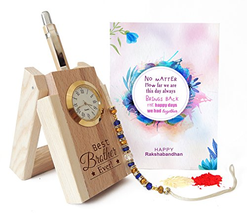 Tied Ribbons Wooden Penstand With Pen And Rakhi With Roli Chawal Pack For Men /Boys