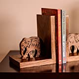ExclusiveLane Wooden Hand Carved & Engraved Elephant Book End In Sheesham Wood -Book Organizer Book Racks Shelf Table Top