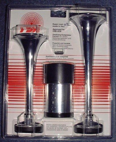 Preisvergleich Produktbild Fanfare Zweiklang Kompressor chrom Metall 12 Volt lt. STVZO zugelassen !!!