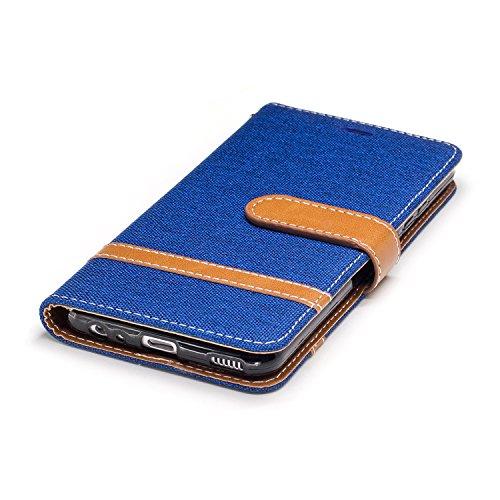 Custodia per Huawei P10, ISAKEN Flip Cover per Huawei P10 con Strap, Elegante Bookstyle Contrasto Collare PU Pelle Case Cover Protettiva Flip Portafoglio Custodia Protezione Caso con Supporto di Stand Marrone+blu