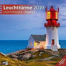 Leuchttürme 2019, Wandkalender / Broschürenkalender im Hochformat (aufgeklappt 30x60 cm) - Geschenk-Kalender mit Monatskalendarium zum Eintragen
