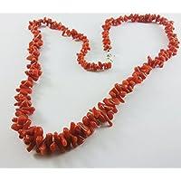 Collana corallo rosso naturale e argento