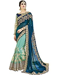SareeShop Women's Silk & Georgette Saree With Blouse Piece (Blue)