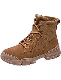 Huatime Chaussures Bottes Bottines Homme Femme - Désert Chaussures à Lacets  Militaire Combat Cheville Martin Botte d094c49c6620