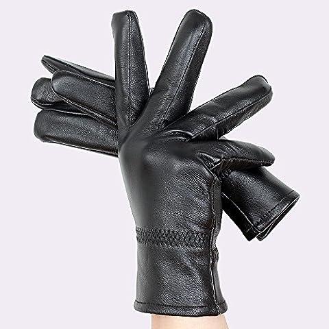 littlepig da uomo e guanti in pelle di pecora amanti dell' inverno Outdoor Ciclismo Guida caldo cashmere, Guanti in pelle