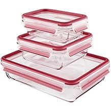 Emsa Clip&Close  - Set de 3 Conservadores Hermético de Cristal de borosilicatode 0,5L  0,95L y 2L , higiénico, no retiene olores ni sabores 100% libre de BPA