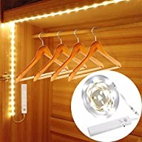 Tira Nocturna LED, 30LED 100cm Luz Armario LED Sensor de Movimiento,Luz de Noche Elegante para Armario, Cocina, Dormitorio, Sótano, Corredor, Escalera (Blanco Cálido)