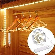 Tira Nocturna LED,ALLESCOOL 30LED 100cm Luz Armario LED Sensor de Movimiento,Luz de Noche Elegante para Armario, Cocina, Dormitorio, Sótano, Corredor, Escalera (Blanco Cálido)