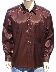 Chemise en soie thaïlandaise hommes à Manche Longue / Brun Taille L